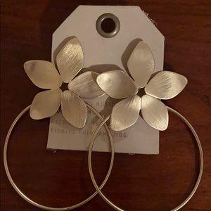 Anthropologie metal floral hoop statement earrings